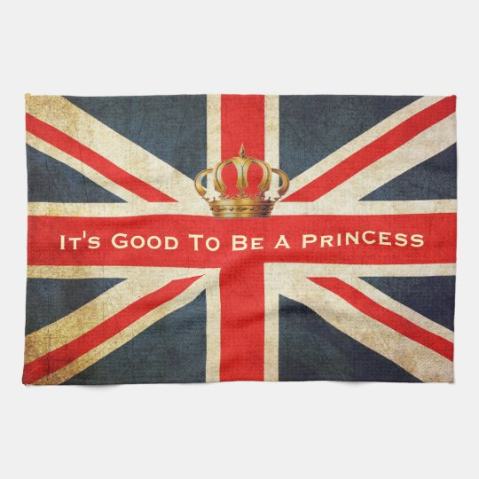Grunge Union Jack Royal Princess Kitchen Towel