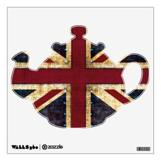 Grunge union Jack tea -pot wall decal