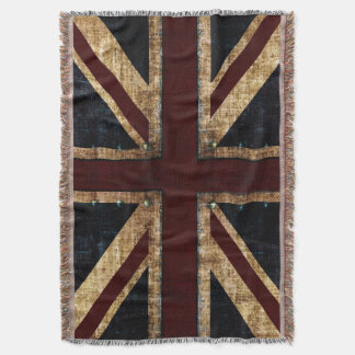 Grunge Union Jack Throw Blanket