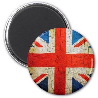 Grunge United Kingdom union jack flag 2 Inch Round Magnet