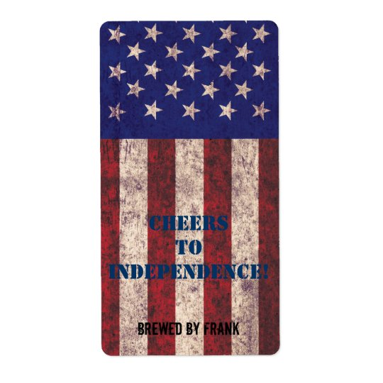 Grunge USA flag beer bottle label Shipping Label