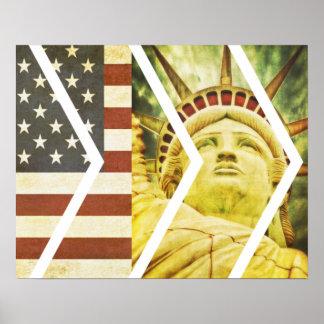 Grunge USA Flag Statue of Liberty Chevrons Poster