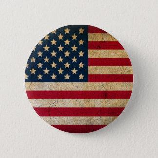 Grunge Vintage American flag USA 2 Inch Round Button