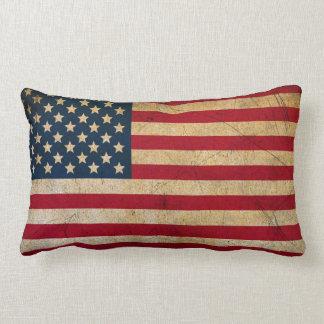 Grunge Vintage American flag USA Lumbar Pillow
