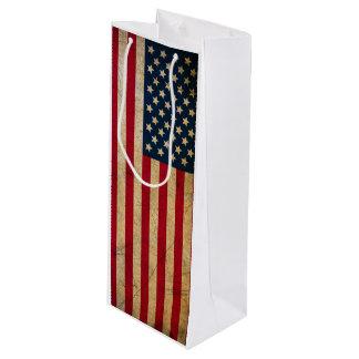 Grunge Vintage American flag USA Wine Gift Bag
