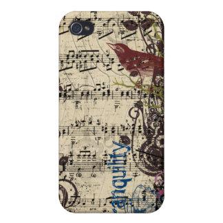 Grunge Vintage Bird Plum Swirls iPhone Cover iPhone 4/4S Cases