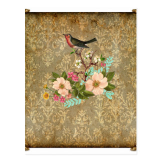 grunge vintage damask floral bird victorian brown postcard