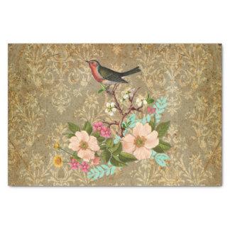 grunge vintage damask floral bird victorian brown tissue paper