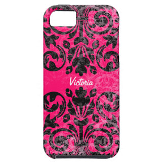 Grunge Vintage Damask Personalized iPhone 5 Case
