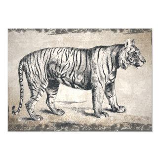 Grunge vintage de faune de tigre décorative carton d'invitation  12,7 cm x 17,78 cm