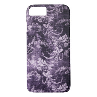 Grunge vintage floral pattern in cool dark purple iPhone 8/7 case