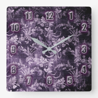 Grunge vintage floral pattern in cool dark purple square wall clock