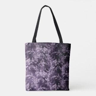 Grunge vintage floral pattern in cool dark purple tote bag