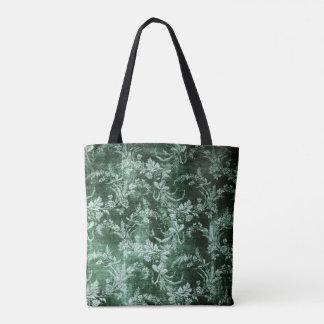 Grunge vintage floral pattern in dark green tote bag