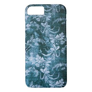 Grunge vintage floral pattern in icy blue iPhone 7 case