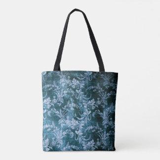 Grunge vintage floral pattern in icy blue tote bag