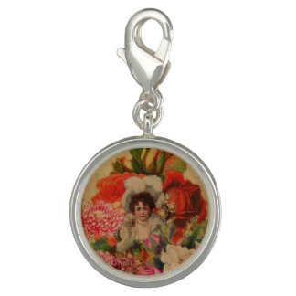 Grunge Vintage Woman Flower Collage Photo Charms