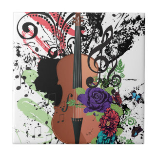 Grunge Violin Illustration2 Tile