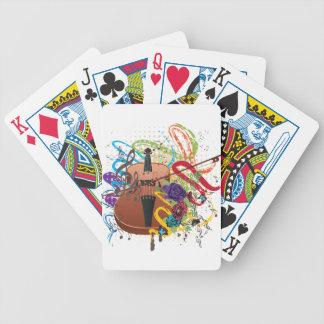 Grunge Violin Illustration Bicycle Playing Cards