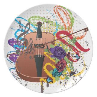 Grunge Violin Illustration Plate