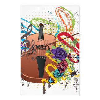 Grunge Violin Illustration Stationery
