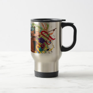 Grunge Violin Illustration Travel Mug