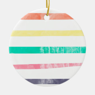 Grunge, Weathered, Colorful Stripes Pattern Round Ceramic Ornament