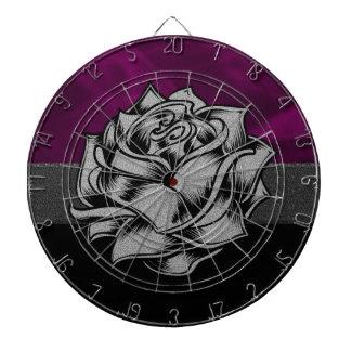 Grunge White Rose with Purple Smoky Background Dartboard