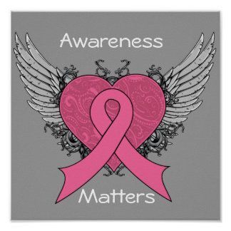 Grunge Winged Heart - Breast Cancer Awareness Poster
