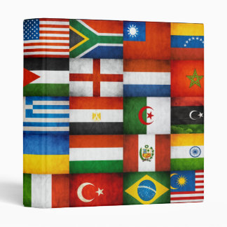 Grunge World Flags Collage Design 3 Ring Binders