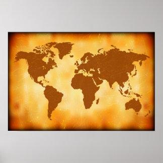 Grunge World Map Poster