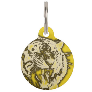 Grunge Yellow Abstract Growling Tiger Pet Name Tags
