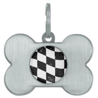 Grunged Chequered Flag Pet ID Tag