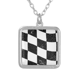 Grunged Chequered Flag Silver Plated Necklace