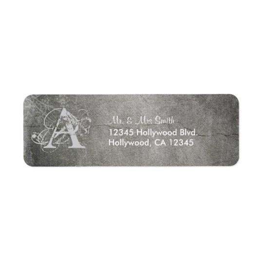 Grunged Custom Monogram Return Address Label