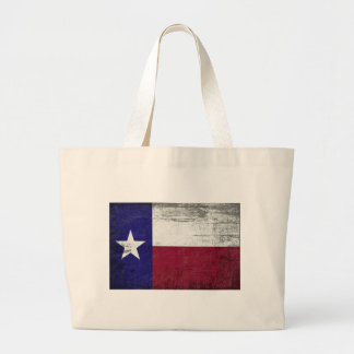 Grunged flag of texas large tote bag