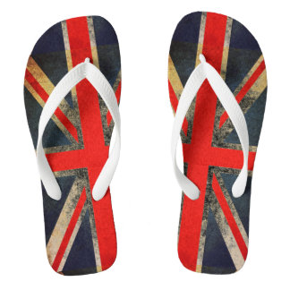 Grunged Out Union Jack UK Flag Flip Flops