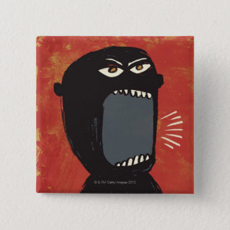 Grungy Angry Man 2 Inch Square Button