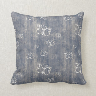 Grungy Blue and Cream Butterfly Pattern Pillows
