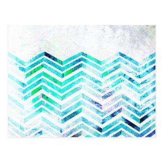 Grungy Blue Chevron Design Postcard