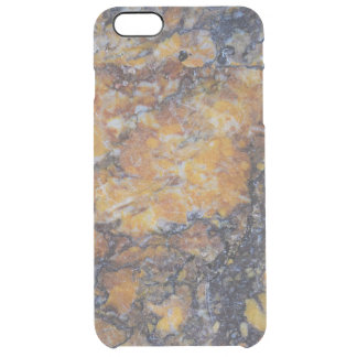 Grungy Brown Faux Marble Print Clear iPhone 6 Plus Case
