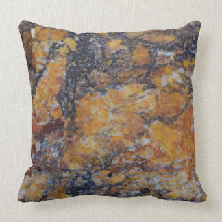 Grungy Brown Faux Marble Texture Throw Pillow