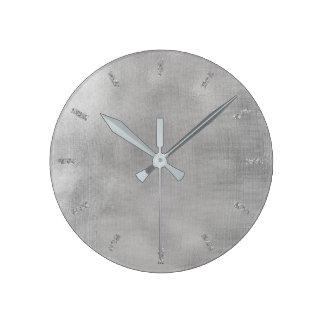 Grungy Burlap Silver Gray Linen Minimal Monochrom Round Clock