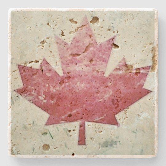 Grungy Canada Canadian Maple Leaf Stone Coaster