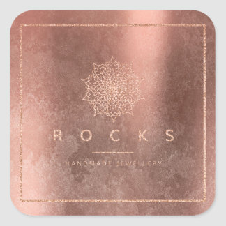 Grungy Cooper Pink Rose Gold Mandala Rocks Square Sticker