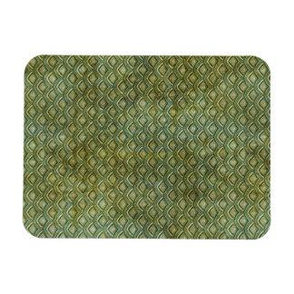 Grungy Dark Green Scallops Rectangular Photo Magnet