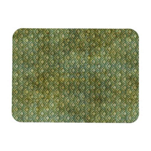 Grungy Dark Green Scallops Rectangular Magnet