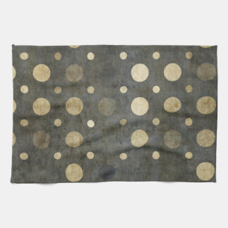 Grungy Dark Polka Dot Pattern Kitchen Towel