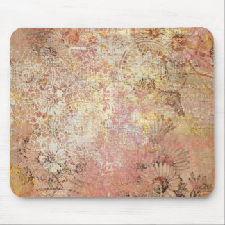 Grungy Flower Collage Mouse Pad
