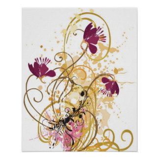 Grungy flowers Poster